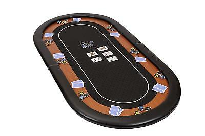Champion Folding Poker Table Top In Black Speed Cloth 180cm With Leather Armrest • 89.99£