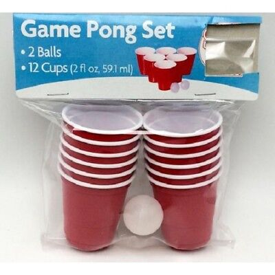 14pc Mini Red Plastic Cups Beer Pong Shot Set Balls Adult Drinking Games Party • 2.92£