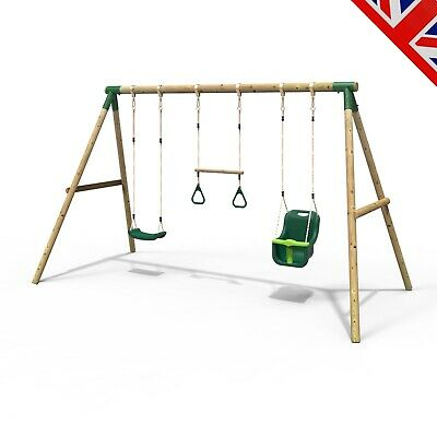 Rebo Kids Wooden Garden Swing Set Childrens Swings - Galaxy • 209.95£