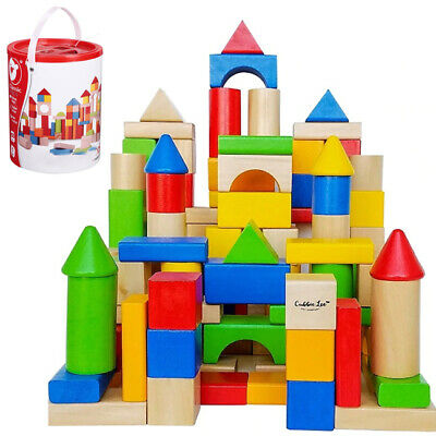 100pc Wooden Building Blocks Kids Childrens Construction Toy Bricks Set With Tub • 9.99£