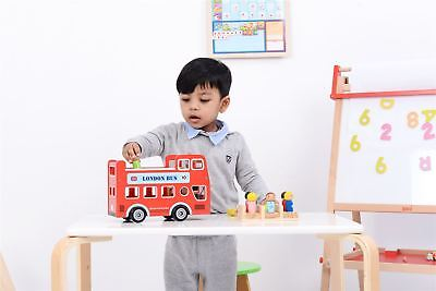 Lelin Wood Wooden Double Decker Red London Bus With Figurines • 19.99£