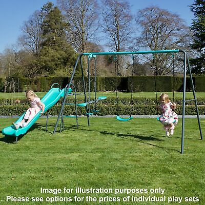 Rebo Children's Metal Garden Play Set Range Swings & Slides • 189.95£