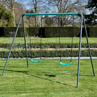 Rebo Children's Metal Garden Swing Set – Double Swing • 79.95£