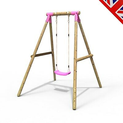 Rebo Kids Wooden Garden Swing Set Childrens Swings - Solar Single Swing Pink • 144.95£