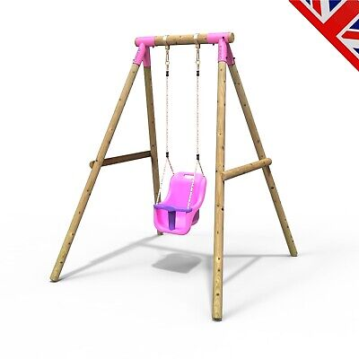 Rebo Kids Wooden Garden Swing Set Childrens Swings - Pluto Baby Swing Pink • 159.95£