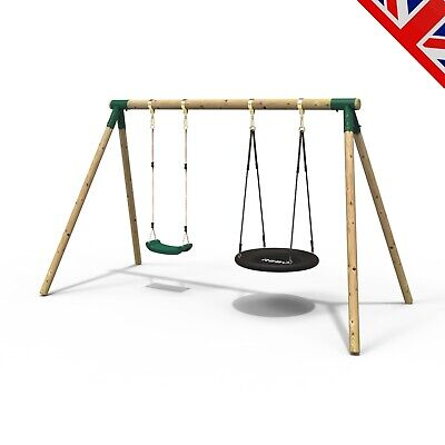 Rebo Junior Range Wooden Garden Swing Set - Junior Meteorite • 199.95£
