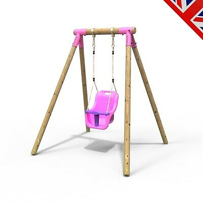Rebo Junior Range Wooden Garden Swing Set - Junior Pluto Pink • 144.95£