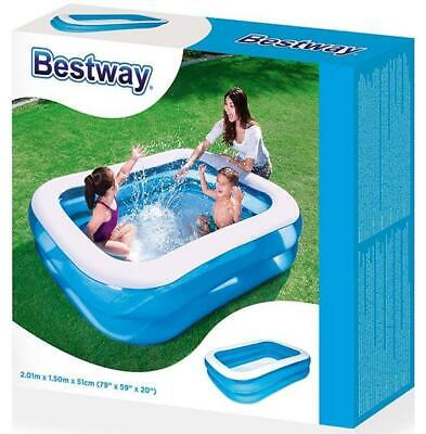 New Bestway Rectangular Family Swimming Paddling Pool Outside Waterfamily 2.01m • 24.95£