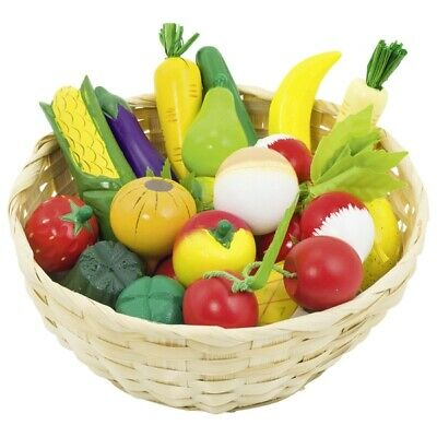 Fruit And Vegetables Wooden IN Basket Toy Shop 21 Pieces Goki 51660 • 24.68£