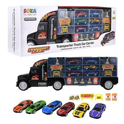 SOKA®  Transport Carrier Truck Toy With 6 Colourful Mini Cars For Boys And Girls • 12.99£