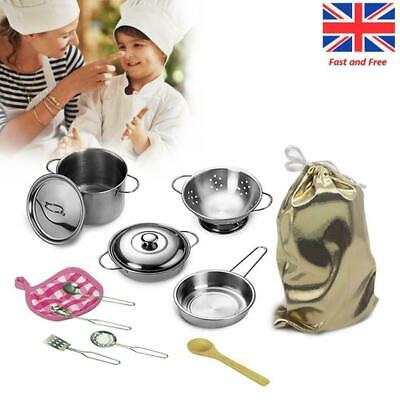 12pcs Stainless Steel Kitchen Utensil Kids Toy Accessories Role Play Pots Pans • 10.99£