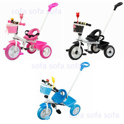 Kids Boys Girls 3 Wheeler Tricycle With Parent Handle Push Along Stroller Trike • 29£