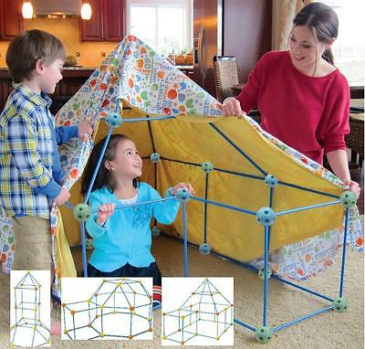 Children's Kids 72 Piece  Build & Play Construction Fort Tent Wendy House Den  • 17.95£