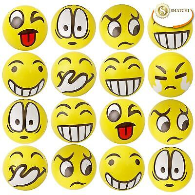 Happy Yellow Bouncy Foam Balls Emoji Smile Face Party Stress Relief Toys Gifts • 3.99£