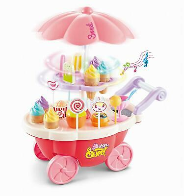 SOKA 36 Pcs Kids Ice Cream Trolley With Light And Sound - Pretend Play Food Toy • 12.99£