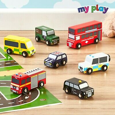 My Play Wooden 7pc British Car Vehicle Set Kids Role Play Educational Toys NEW • 16.99£