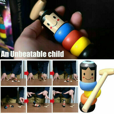 Unbreakable Wooden Magic Toy The Wooden Stubborn Man Toy FUNNY Gifts • 4.69£