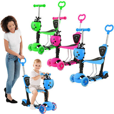5 In 1 Kids Flash LED Light Scooter 3 Wheel Adjustable Push Kick Scooter W/ Seat • 18.95£