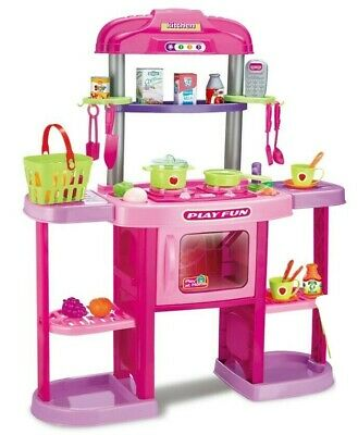 Childrens Role Play Kitchen Girls Pink Set Cooker Oven Food Lights & Sound 531 • 22.95£