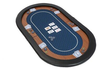 Champion Folding Poker Table Top In Blue Suited Speed Cloth 153cm Leather Rest • 79.99£
