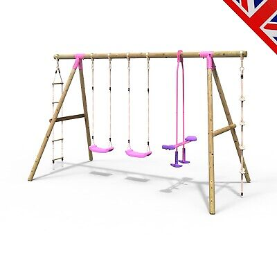 Rebo Kids Wooden Garden Swing Set Childrens Swings - Saturn Pink • 254.95£