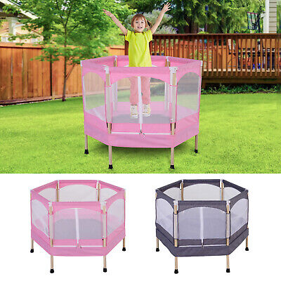 3ft Kids Trampoline Outdoor Bounce Hexagon W/ Safety Enclosure Net&Spring Pad • 68.99£