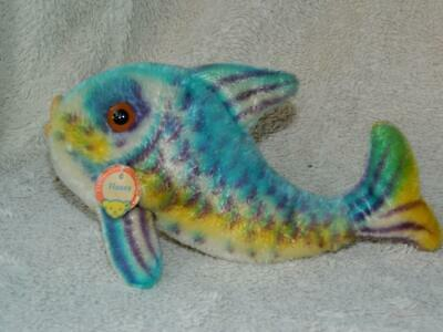Steiff Vintage 1960-67 Blue Mohair Flossy Fish 2350,00 With Chest Tag No Button • 49.99£