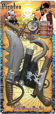 Childrens Pirate Role Play Weapon Set Toy Pistol Hook Sword Dagger Telescope 244 • 5.75£