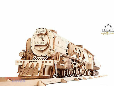 UGears V-EXPRESS STEAM TRAIN & TENDER 70058 Wood Mechanical 3D Puzzle Model Kit • 57.99£
