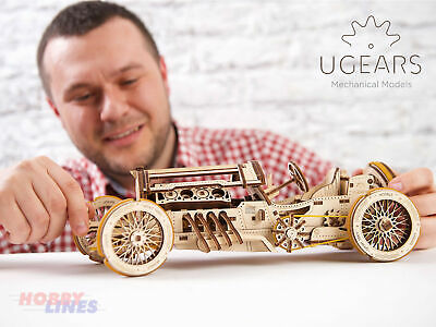 UGears U-9 GRAND PRIX CAR UG70044 Wooden Mechanical Construction Puzzle Kit • 34.19£