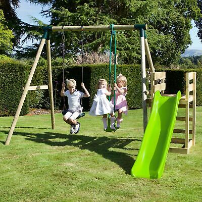 Rebo Wooden Swing Set Plus Deck & Slide • 289.95£