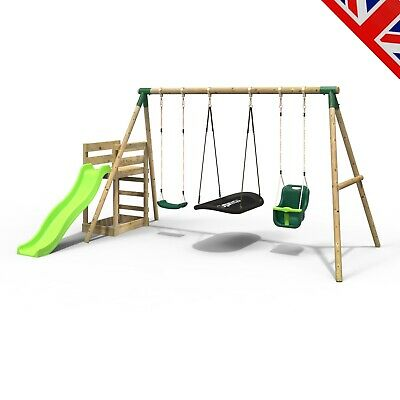 Rebo Wooden Swing Set Plus Deck & Slide - Halley Green • 369.95£