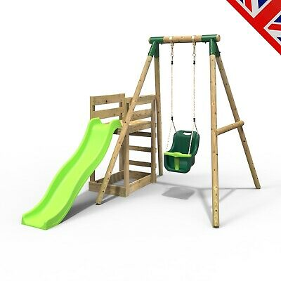 Rebo Wooden Swing Set Plus Deck & Slide - Pluto Green • 284.95£