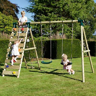 Rebo Wooden Swing Set With Up And Over Climbing Wall • 289.95£