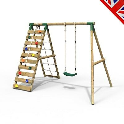 Rebo Wooden Swing Set With Up And Over Climbing Wall - Aria Green • 289.95£