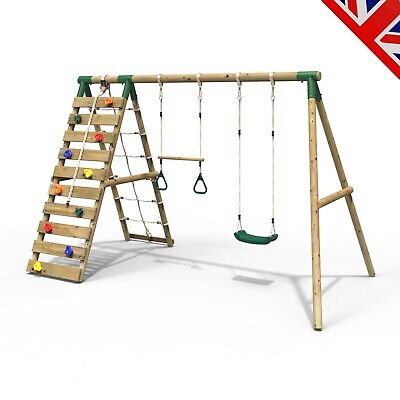 Rebo Wooden Swing Set With Up And Over Climbing Wall - Savannah Green • 319.95£