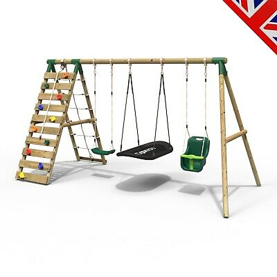 Rebo Wooden Swing Set With Up And Over Climbing Wall - Skye Green • 349.95£