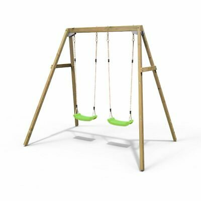 Rebo Active Range Wooden Garden Double Swing Set – Green • 169.95£