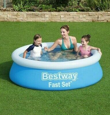 6ft Round Family Swimming Pool Outdoor Inflatable Summer Garden Fun Fast Easy • 22.95£