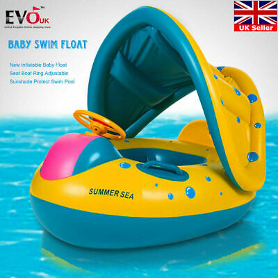 Adjustable Inflatable Sunshade Baby Kid Float Seat Boat Ring **UK FAST POST** • 10.99£
