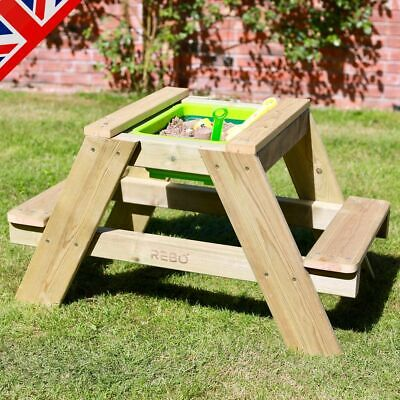 Rebo Wooden Sandpit With Lid Sand & Water Picnic Table Play Bench - Single • 59.46£
