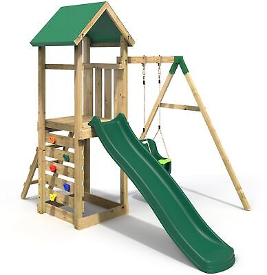 Rebo Adventure Playset Wooden Climbing Frame, Swing Set And Slide - Rosa • 409.95£