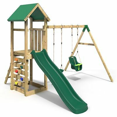 Rebo Adventure Playset Wooden Climbing Frame, Swing Set And Slide - Rainier • 479.95£