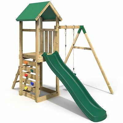 Rebo Adventure Playset Wooden Climbing Frame, Swing Set And Slide - Rushmore • 399.95£