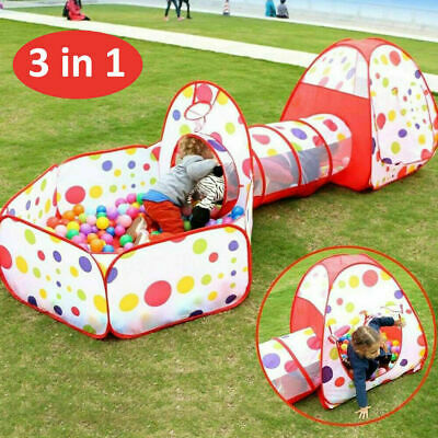 3 In 1 Pop Up Play Tent Tunnel Kids Playhouse Ball Baby Toddlers Kids Toys UK • 18.83£