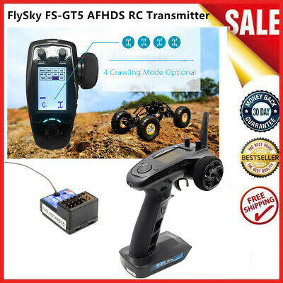 AFHDS FlySky FS-GT5 2.4G 6CH RC Transmitter W/FS-BS6 Receiver For RC Car Boat • 59.99£