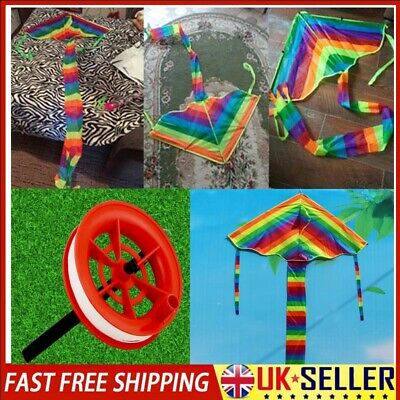 Kids Rainbow Kite Long Tail Outdoor Flying Toys With 100M Flying Kite Line • 6.39£