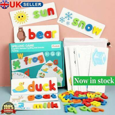 Wooden Alphabet Letter Learning Cards Set Word Spelling Practice Game Toy Gifts • 8.92£