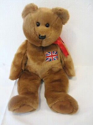 RARE 1999 TY BRITTANIA BRITAINIA BEAR UNION JACK BADGE 14ins EXC • 22.99£