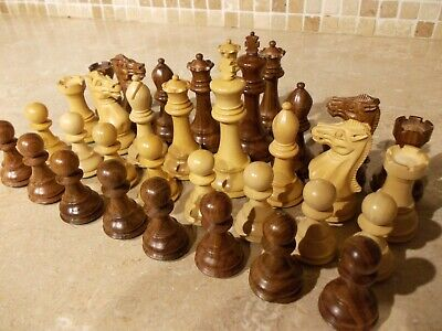 Large 4  Reproduction Antique Chess Set/pieces,4 Queens,staunton Style Wooden • 89.99£